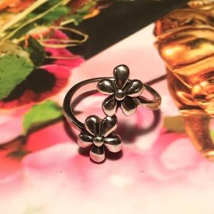 Bohemian Flower Ring / Adjustable 925 Silver